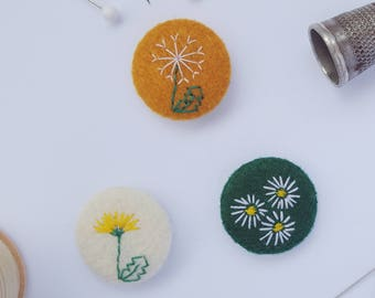 embroidered felt flower badges -  set of 3 - recycled eco felt - dandelion clock pin badge - eco stocking filler