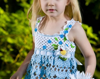 CROCHET PATTERN Forget Me Not Tunic Top & Daisy Pin Crochet Pattern for Sizes 2-12 years in PDF eBook