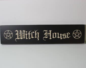 Witch House with Pentacle Design | Wooden Carved Sign | Wicca Wiccan Witchcraft Protection