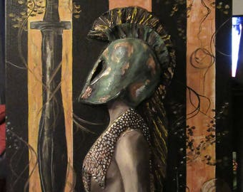 Spartan 301 - Original Sculpted Warrior Woman Painting - Female Spartan w/ Helm and Gold Leaf Vines