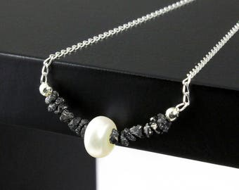 Pearl Necklace with Rough Diamonds on Sterling Silver - Raw Uncut Diamond Jewelry - Freshwater Pearl with Black Diamonds - April Birthstone