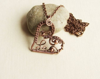 Copper heart necklace Wire wrapped pendant heart Anniversary gift Valentine Day gift for her Heart pendant pure-copper raw-copper MW33