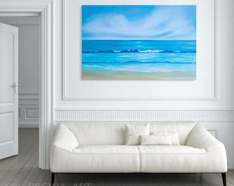 Wall Art Abstract Painting - Seascape Painting Abstract Ocean Canvas Art Large Abstract Sea Painting Modern Wall Art Blue Coastal Wall Decor