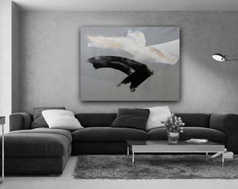 Raven Flight, Black and White Abstract Art, large, huge, abstract expressionist, canvas art, wall art, modern art, 50x62