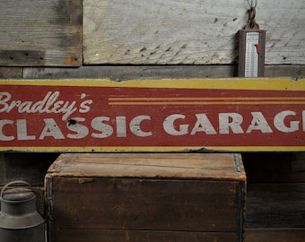 Classic Garage Wood Sign, Personalized Owner Mechanic Name Decor, Man Cave Car Lover Gift - Rustic Hand Made Vintage Wooden Sign ENS1001531