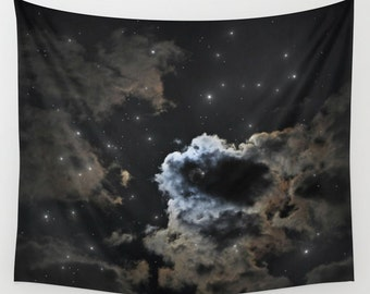 Starry Night Sky Wall Tapestry, Moon Tapestry, Night Sky Home Decor, Nature Tapestry, Wall Tapestry, Home Decor, Cloudy Tapestry,Black Decor