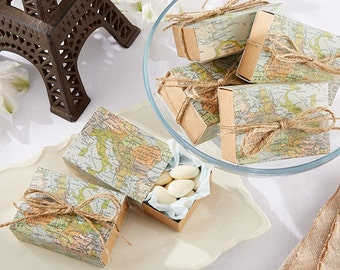 Map Favor Boxes Set of 24 Around the World Map Party Favors Wedding Favor Boxes