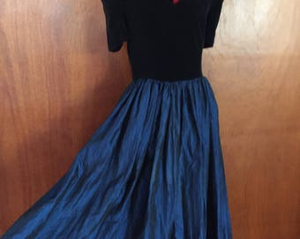 Early 90's, velvet off the shoulder formal gown