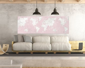Pink world map etsy world map canvas print vintage world map horizontal extra large long wall art vintage map oversized gumiabroncs Image collections