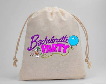 Bachelorette Party, Favor Bags, Party Bags, Drawstring Bags, Wedding, Bridal, Goodie Bags, Treat Bags, 5x7, Muslin Bags, Set of 5