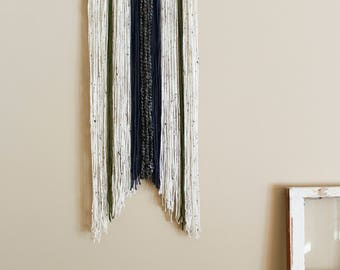 Handcrafted Yarn Wall Hanging \\ Navy, Green, Cream, + Grey \\ Tapestry Wall Decor \\ Home Decor