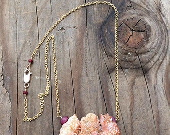 Copper Druzy Necklace / Bohemian Necklace / Ruby Necklace / Gold Chain Necklace