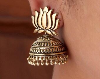 Lotus Jhumka/Oxidised Gold Jhumka/Jhumki/indian jewelry/earrings/indian earrings