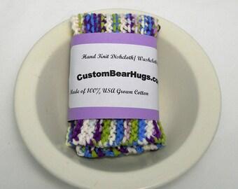 Large Washcloth, Dishcloth, 100% Cotton, Hand Knit, Colorful, Make Your Own Custom Set, Baby Shower Gift, Housewarming Gift, Wedding Gift