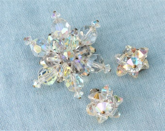 Vintage 1960s - Iridescent Aurora Borealis Facetted Crystal Glass Star Brooch & Matching Clip-on Earrings