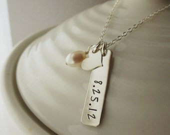 Personalized Date Necklace - - Our Date - - Sterling Silver Mommy Jewelry - - Anniversary Necklace