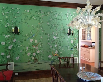 Chinoiserie handpainted wallpaper on emerald green silk custom size available