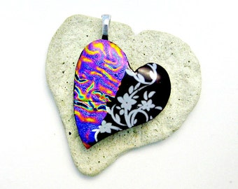 Dichroic and Fuschsia with White Flowers Fused Glass Heart Shaped Pendant