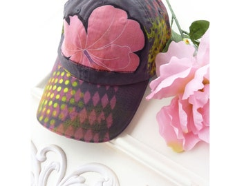 Hand painted baseball cap, artsy hat, cotton, visor, OOAK, hiking, beach, wearable art hat, sport hat, upcycled, streetwear, pink flower
