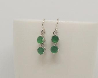 Green earrings, onyx, silver earrings, dangle drop earrings, forest green