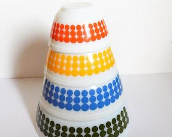 Vintage Pyrex New Dots - 401 402 403 404 - Milk Glass Mixing Bowl Complete Set - Vintage Dot Pyrex - Nesting Dots Pyrex