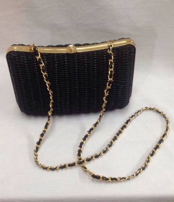 Perfect Black Wicker Shoulder Bag