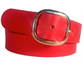 Red Leather Belt Strap - Full Grain Leather
