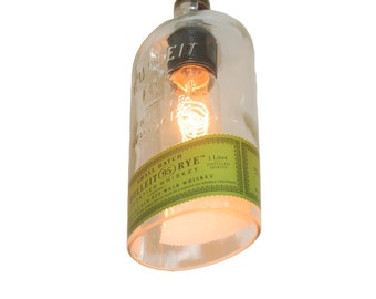 Bulleit Pendant Light Shade / Glass Pendant Light Cover / Bourbon Bottle Light / Industrial Lighting Whiskey Decor / Whiskey Gifts Boyfriend