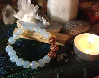 Wooden heart series with smokey glass beaded stretch bracelet