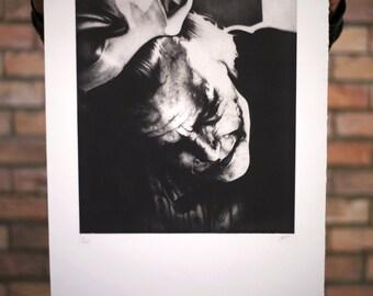 Batman the Dark Knight Joker / Handmade Art Print and Poster / Etching / Film and Movie Poster / Illustration