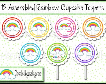 Rainbow Cupcake Toppers Rain bow Baby shower Decorations Custom Rainbow favors cupcake picks topper cupcake top 12 assembled
