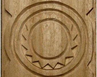 Oshiwa Carved Wood Printing Stamp, Tribal Design, 4'' square, Item 21-6-8