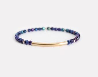 Iridescent Blue Beaded Bar Bracelet - Gold Filled or Sterling Silver - Nuelle