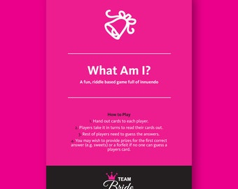 What Am I? - Riddle based innuendo Hen Party Game, Instant Download, hen night games, hens do games,Bachelorette Party Game, Hen Party Games