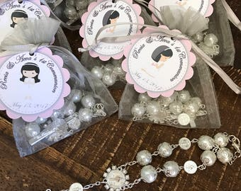 24 organza bags with bracelets rosaries included and thank you card- girl communion  favors-Christening Baptism girl favors -first communion