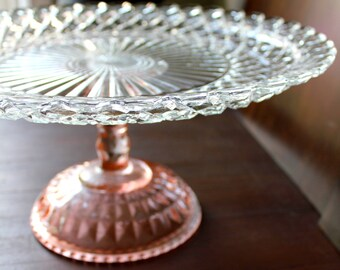 "14"" Pink Cake Stand Pedestal / Glass Cake Stand / Cake Pedestal / Vintage Cake Plate Pedestal / Cupcake Stand Truffle Pedestal"