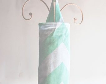 Fabric Cloth Plastic Grocery Bag Holder Chevron Mint Green