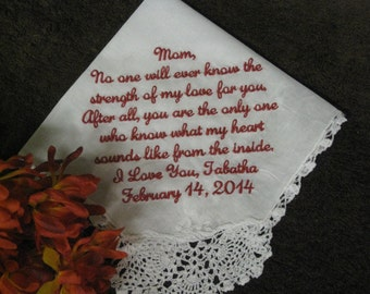 Mother of the bride handkerchief - wedding handkerchief mom - wedding gift for parents