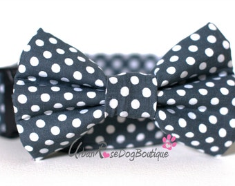 BOSTON: Designer Polka Dark Grey and White Dots Dog Collar & Bow Tie Set Urban Rose Dog Boutique #dogcollar #bowtie  #wedding #Urbanrose