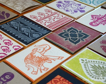 Greeting Cards - buy 4, get 1 free - hand block printed on natural paper | boho cards | blank cards | indian cards | hand pulled | 5 cards