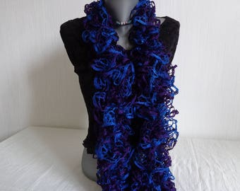 FROU FROU scarf for women - hand-knitted scarf in blue hard/purple hand knitted