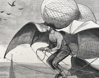 The Flying Machine. Mad inventions print. Original 1850s engraving from The Graphic magazine. Beautifully drawn antique print.