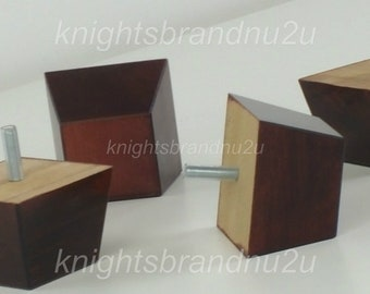 4x Wooden Block Furniture Legs / Feet For Sofas, Settees, Chairs & Footstools M8