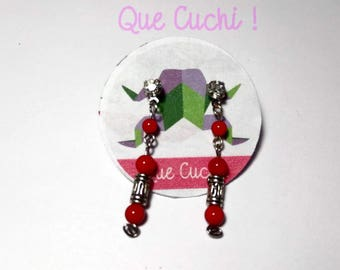 Pendant Earrings with coral pearls