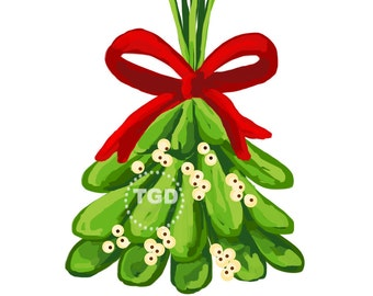 Christmas Clip Art, Christmas Clipart, Christmas digital clipart, Mistletoe Clip Art, holiday clipart, hand painted clipart digital download