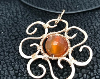 Bare Bronze Hammered Wire Weaved Mandala Flower Pendant. Natural Stone Jewelry Necklace.