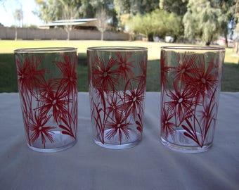 Set Of 3 Vintage Kraft Swanky Swig Juice Glasses Red Flowers
