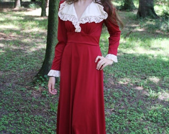 1970's Scarlet Red Victorian Maxi Dress