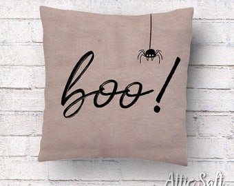 boo! Halloween Pillow Cover - Natural Cotton Canvas