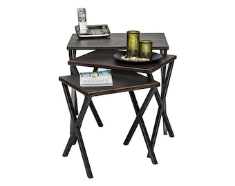 Nested Tables Iron End Corner Side Table with Croc Patterned Top (Set of 3)